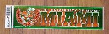 NCAA LICENSED MIAMI HURRICANES IBIS BUMPER STICKER DECAL UNSOLD RETAIL STOCK