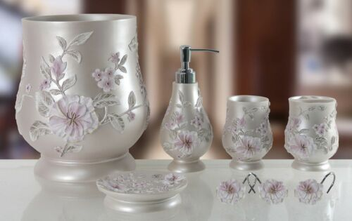 Melarose Pink 6 Piece Decorative Bathroom Accessory set Made of Ceramic