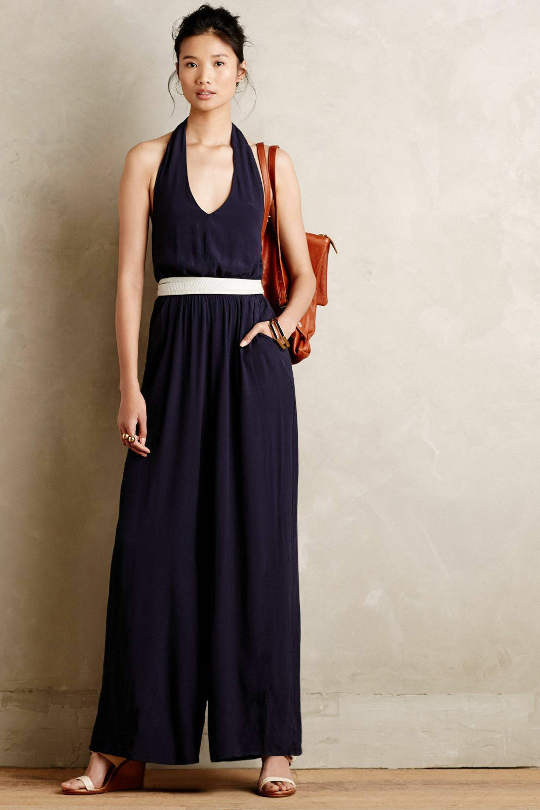Anthropologie Jumpsuit Wide Leg Adria Halter Sleeveless Summer Bishop + Young, S