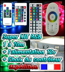 skit816 strip kit ruban led rgb 5050 30 led m 1 10m t l commande 24 44t rf ebay. Black Bedroom Furniture Sets. Home Design Ideas