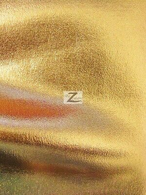 "METALLIC FOIL SPANDEX FABRIC - Gold - 2 WAY STRETCH LYCRA 58""/60"" SOLD BTY"