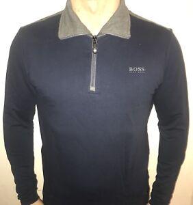 a7fecb502 Hugo Boss Long Sleeve Polo Top Zip SweatShirt BNWT New Navy blue ...