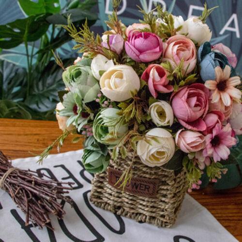 12 Heads Silk Rose Artificial Flowers Fake Bouquet Buch Wedding Home Party Decor