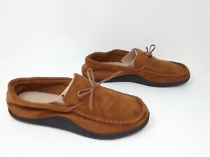cf7e20659b1 Image is loading New-Men-039-s-Isotoner-Suede-Slippers-Brown-