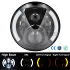 """7"""" Inch LED Motorcycle Daymaker Projector Headlight Turn Signal Light For Harley"""