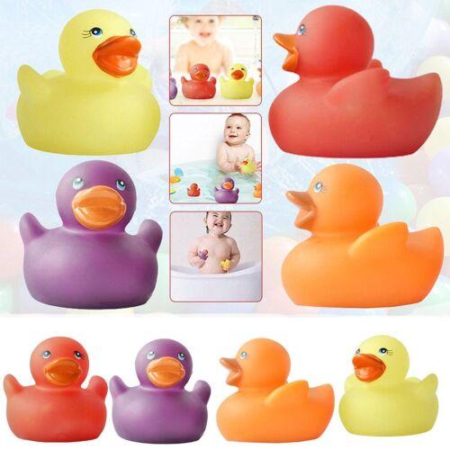 New 4 RUBBER COLOURED DUCKS Fun Kids Bath Squirting Toy Baby Duck Time FUN