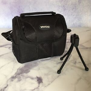 Vivitar-Gadget-Bag-for-Small-Electronics-or-Camera-with-Zip-Pouch-Small-Tripod