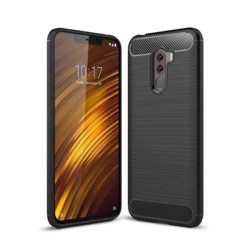 For Xiaomi Pocophone F1 Case Carbon Fibre Cover & Glass Screen Protector