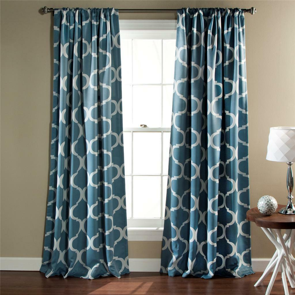 inch curtains curtain color blue geometric white moroccan pair set light panel pin teal medallion drapes