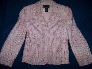 Ladies Laura Scott Pink Boucle Tweed Blazer Sz.4 Career  Casual EC *GORGEOUS*