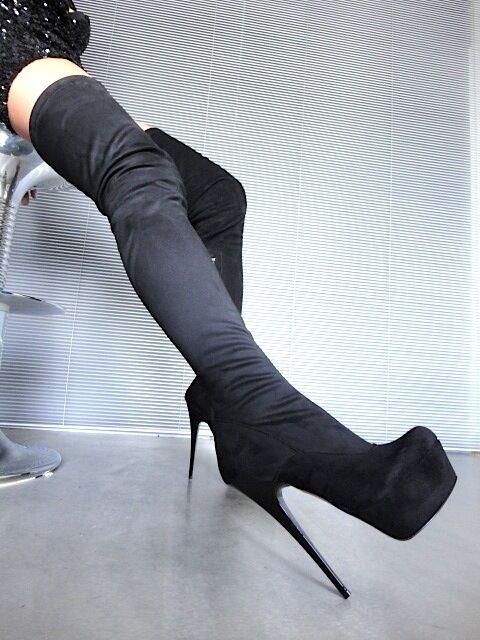 MORI PLATFORM PLATFORM PLATFORM OVERKNEE HEELS ITALY botas botas STRETCH LEATHER negro negro 45  calidad fantástica
