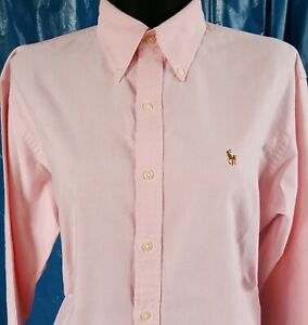Ralph-Lauren-Sport-pre-used-femme-chemise-taille-10-manches-longues-rose-Oxford