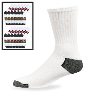 12-Pairs-Mens-Sports-Crew-Socks-Cotton-Calf-Cushioned-Athletics-White-Size-10-13