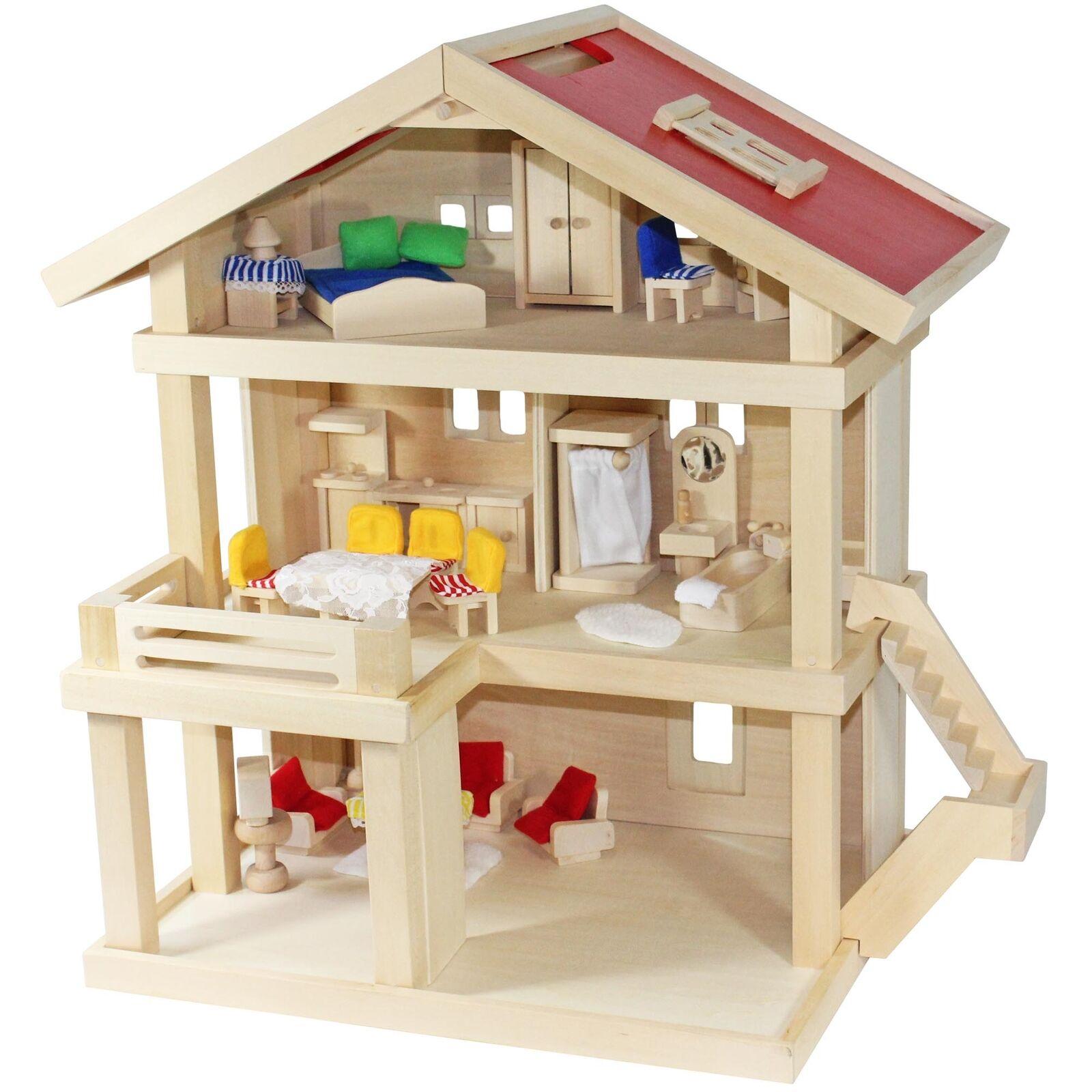 Villa Frossoa casa delle Bambole Villa Città + COPERTINA + bambole mobili in legno 46x35x58 cm
