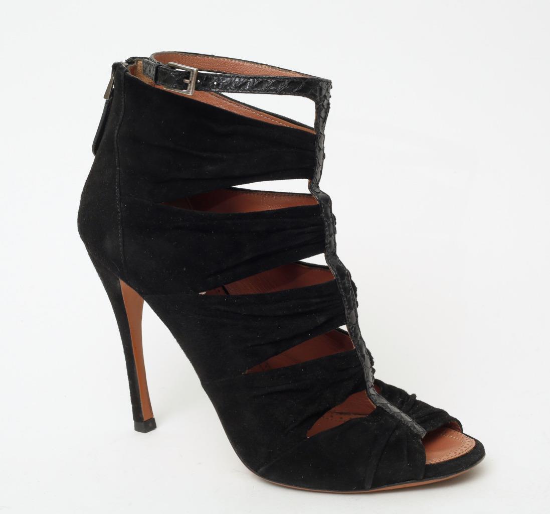 alto sconto ALAIA nero Suede Snakeskin Caged Sandals avvioies Zip-Up Zip-Up Zip-Up Ankle-Strap 8.5-38.5  rivenditori online