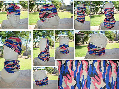 'CAMO' Head/Face/Mask/Neck Multi-wear tube Bandana/Durag.SPF5,Scarf/Wrap. 003
