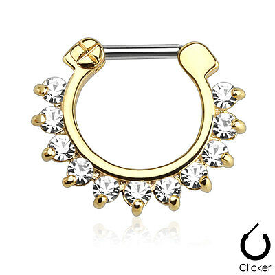 Gold Plated On Surgical Steel Clear CZ Prong Set Septum Clicker Nose Ring 16g