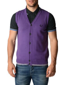 New-Fred-Perry-Mens-Vest-100-Cotton-Made-in-Italy-30412165-S-amp-XL