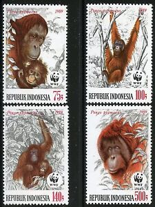 INDONESIA-WWF-WORLD-WILDLIFE-FUND-ORANGUTAN-SCOTT-1380-83-MINT-NEVER-HINGED