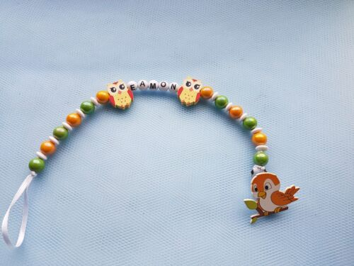 Cute Baby Personalized Wooden Bead Pacifier Soother Dummy Clip Holder Girl Boy