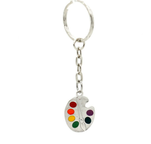 Silver Keyring With Artists Coloured Paint Palette Novelty Gift Idea For Him Her