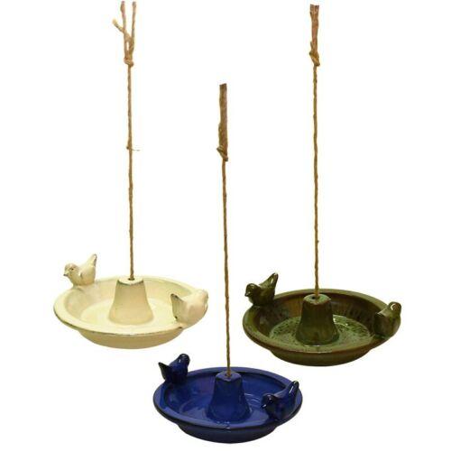 VOGELTRÄNKE Vogelbad Keramik hängend rund 3 Farben zur Auswahl Hanfseil FB443