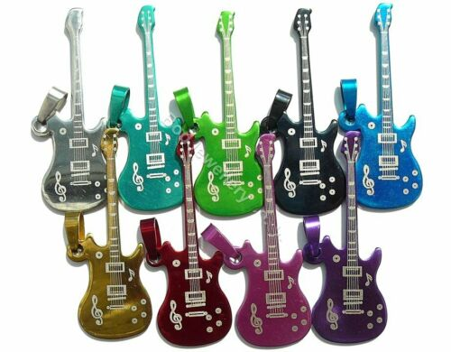Colgante de Acero Inoxidable anodizado Guitarra 8 Colores