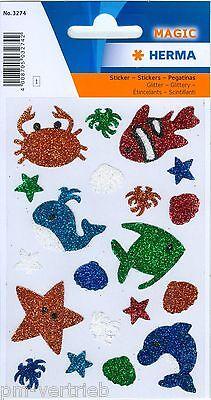 Sticker Schmucketiketten Meerestiere, glittery HERMA MAGIC 3274