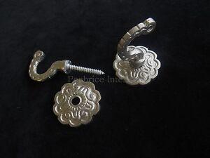 2 curtain tassel tie back hooks - Matt silver rosette wall door coat hook DIY