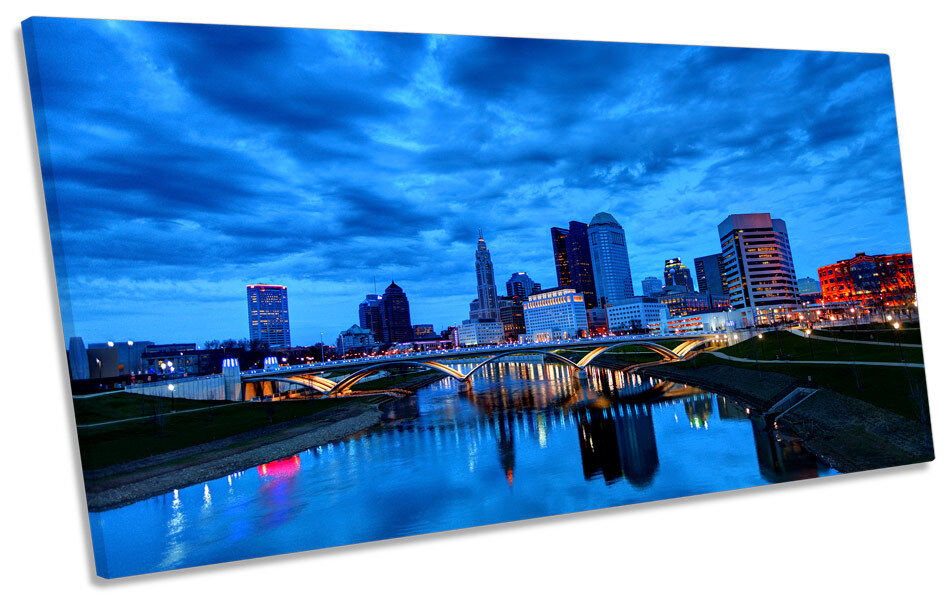 Columbus Ohio City Skyline CANVAS ART Print Panoramic Picture