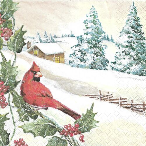 2 Serviettes en papier Cardinal Hiver Decoupage Paper Napkins Bird
