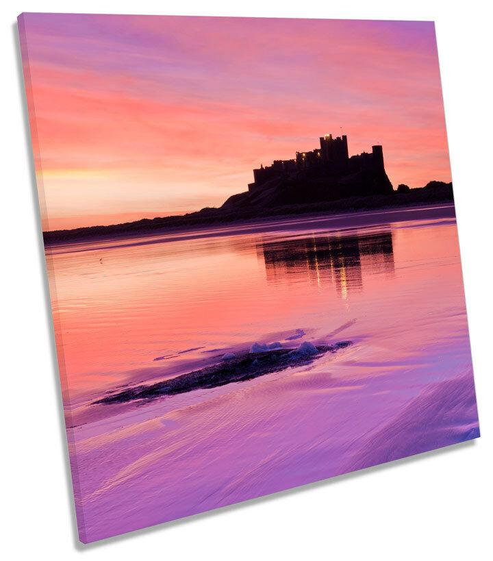 Bamburgh Castle Sunset Northumberland SQUARE BOX FRAMED CANVAS ART Print