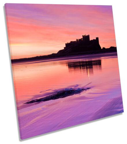Bamburgh Castle Sunset Northumberland SQUARE BOX FRAMED CANVAS ART Print