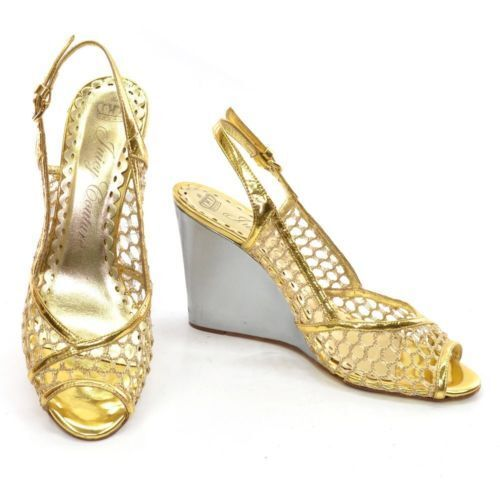 Juicy Couture Acapulco Women's gold Mesh Wedge Open Toe Sandal shoes, 9 New