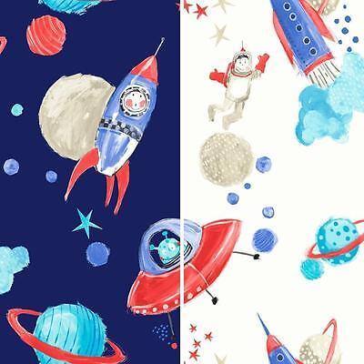 Starship Star Pattern Space Man Rocket Glitter Childrens Wallpaper 668001