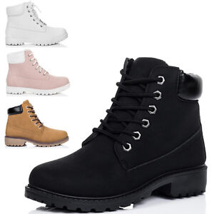 Womens-Lace-Up-Cleated-Sole-Flat-Combat-Worker-Walking-Ankle-Boots-Shoes-Sz-3-8