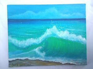 Original-Acrylic-Painting-8-x10-Canvas-Panel-Crunchy-Wave-Beach-Ocean-Seascape