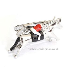 7469990d0b92 Fun Smart Horse & Jockey 3D Large Novelty Tie Clip Red New Racing ...