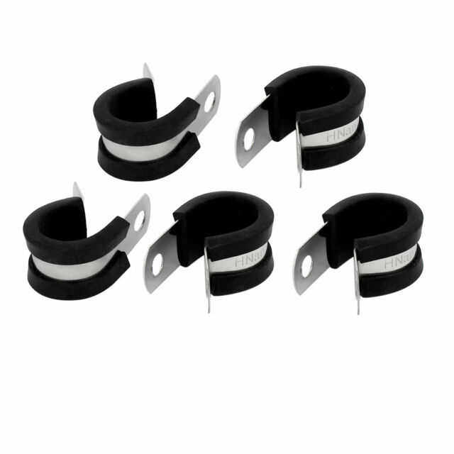 16mm Dia EPDM Rubber Lined P Clips Cable Hose Pipe Clamps Holder 5pcs