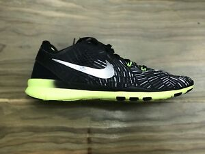 Nike Womens Free 5.0 TR Fit Sneakers Black/Metallic Volt 704695-017 Size 6.5