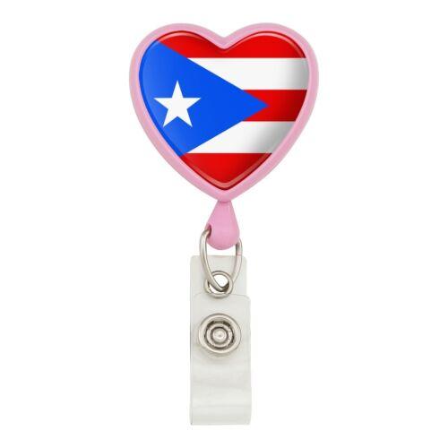 Puerto Rico Country Flag Heart Lanyard Retractable Reel Badge ID Card Holder