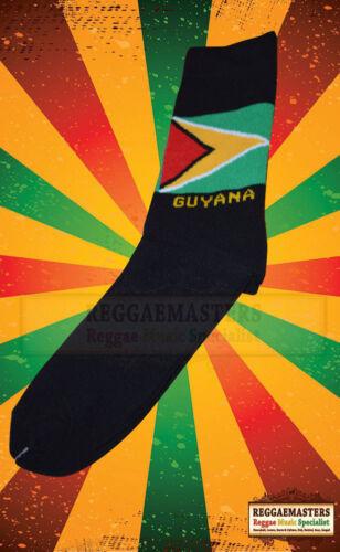 Guyana drapeau tricot chaussettes noires qualité supérieure roots rasta reggae