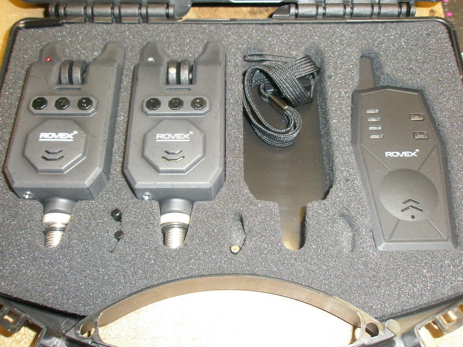 Rovex 2 X Drahtlos Bissanzeiger + Empfänger-satz Karpfenangeln Ausrüstung