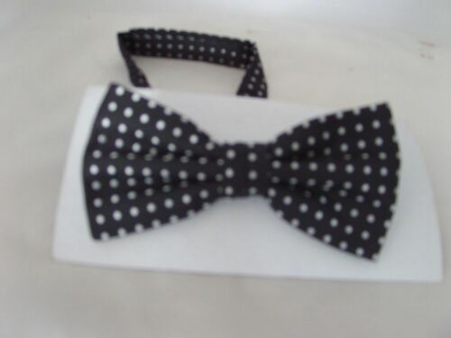 Black with Polka Dots MENS or BOYS Polyester Bow ties-Also in Sets or Only Hanky