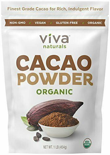 Viva Naturals #1 Best Selling Certified Organic Cacao Powder from Superior 1 LB