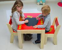 Apple Table And 2 Chairs Set Furniture Apple Playroom Studyroom Kid Birch Wood