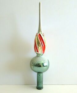 Vintage-Mercury-Glass-Christmas-Tree-Topper-11-034-Green-Red-Gold-Swirl-Spire-Mica