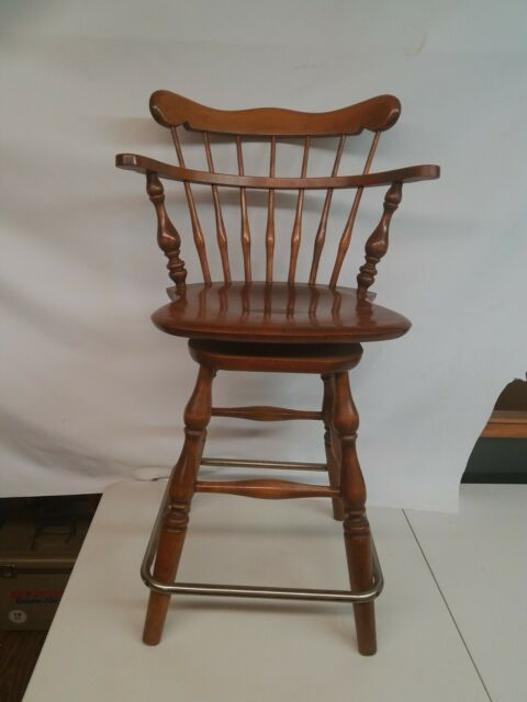 Ethan Allen Heirloom Nutmeg Maple Swivel Bar Stool 10 6095 Made In America For Sale Online Ebay