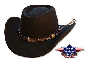Cappello-Giocatore-d-039-azzardo-nero-100-FELTRO-STARS-amp-STRIPES-Western-Paese