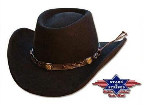 Hat Gambler black 100/% FELT STARS /& STRIPES Western//Country